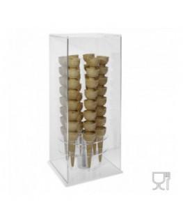 E-657 PCN - Porta coni girevole da banco in plexiglass trasparente e base colorata di forma quadrata