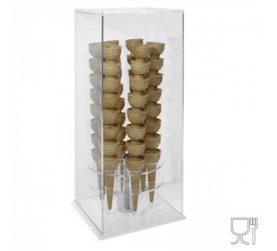 Porta coni girevole da banco in plexiglass trasparente e base colorata di forma quadrata