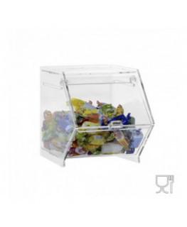 E-659 - Porta caramelle da banco o da parete in plexiglass trasparente CON sportello a scomparsa