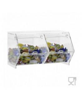 E-660 - Porta caramelle da banco o da parete in plexiglass trasparente CON sportello a scomparsa