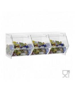 E-661 - Porta caramelle da banco o da parete in plexiglass trasparente CON sportello a scomparsa
