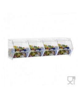 E-662 - Porta caramelle da banco o da parete in plexiglass trasparente CON sportello a scomparsa