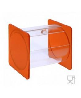 E-664 - Portacaramelle sezione circolare in plexiglass trasparente e con pannelli laterali in plexiglass satinato Arancione