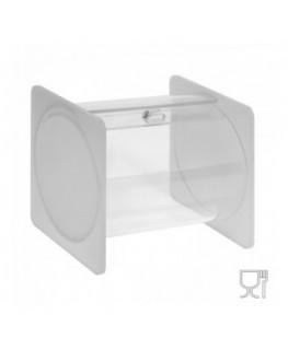 E-665 - Portacaramelle sezione circolare in plexiglass trasparente e con pannelli laterali in plexiglass satinato