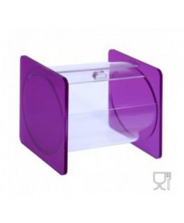 E-666 - Portacaramelle sezione circolare in plexiglass trasparente e con pannelli laterali in plexiglass satinato FUCSIA