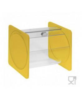 E-667 - Portacaramelle sezione circolare in plexiglass trasparente e con pannelli laterali in plexiglass satinato GIALLO