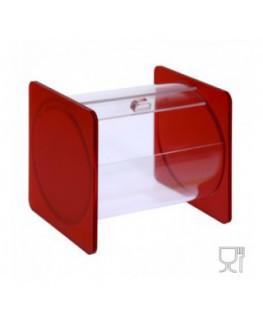 E-668 - Portacaramelle sezione circolare in plexiglass trasparente e con pannelli laterali in plexiglass satinato ROSSO
