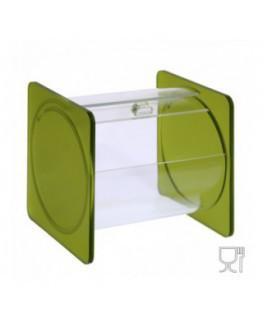 E-669 - Portacaramelle sezione circolare in plexiglass trasparente e con pannelli laterali in plexiglass satinato VERDE
