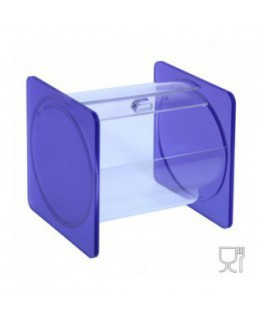 E-670 - Portacaramelle sezione circolare in plexiglass trasparente e con pannelli laterali in plexiglass satinato VIOLA