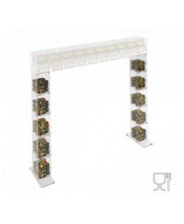 E-671 PCR - Piede portacaramelle per struttura a ponte da banco gratta e vinci in plexiglass trasparente a 5 contenitori CON ...