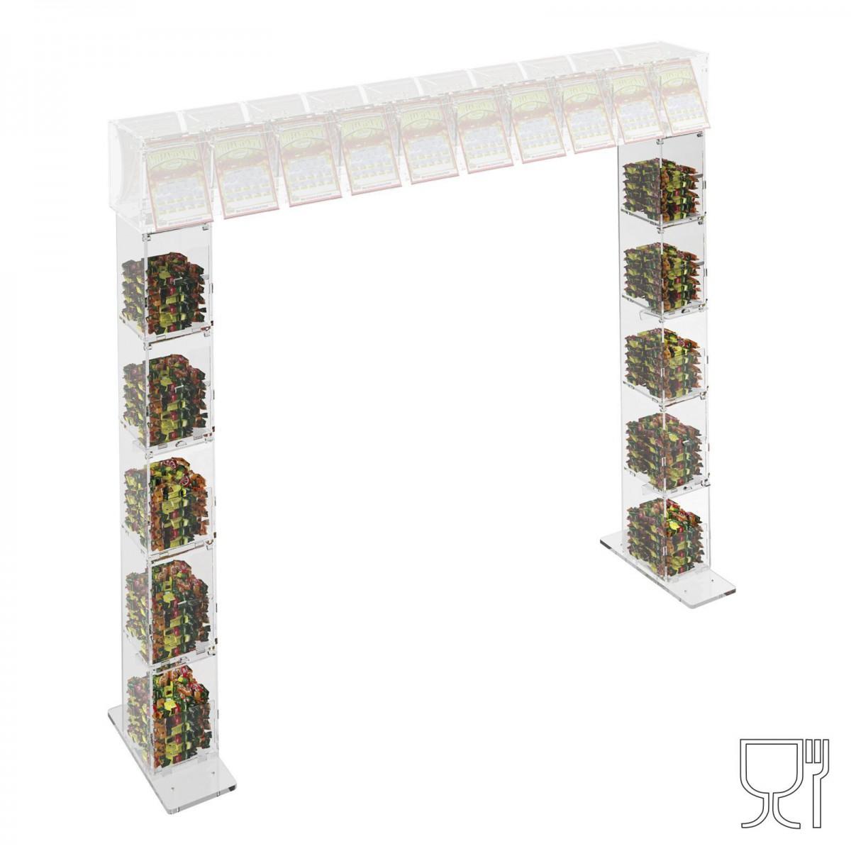 Piede per struttura a ponte da banco gratta e vinci in plexiglass trasparente a 5 contenitori CON SP