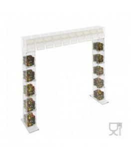 E-672 PCR - Piede portacaramelle per struttura a ponte da banco gratta e vinci in plexiglass trasparente a 5 contenitori SENZ...