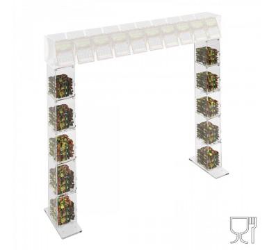 Piede per struttura a ponte da banco gratta e vinci in plexiglass trasparente a 5 contenitori SENZA SPORTELLO frontale lato rivenditore