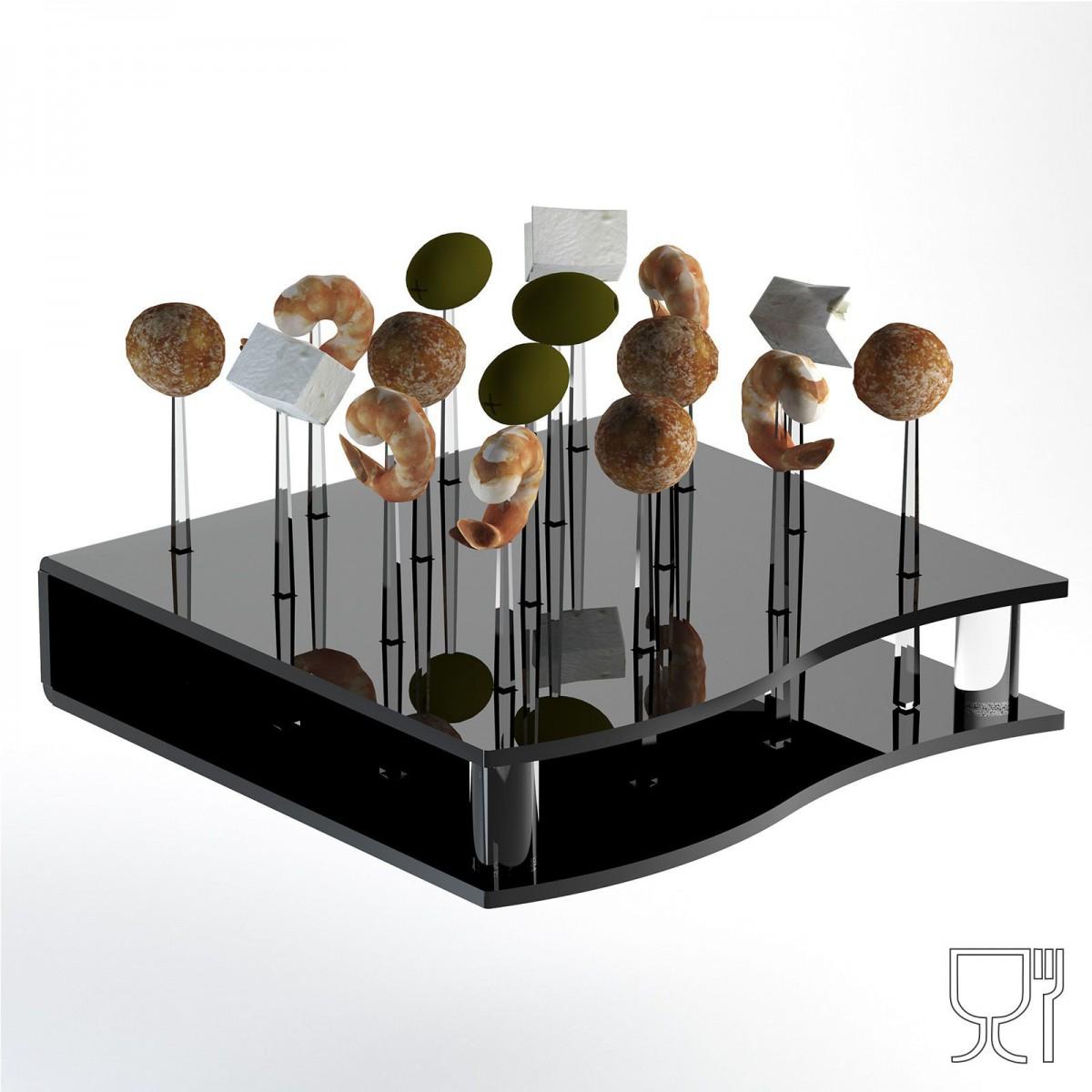 Espositore multiuso in plexiglass nero per finger food