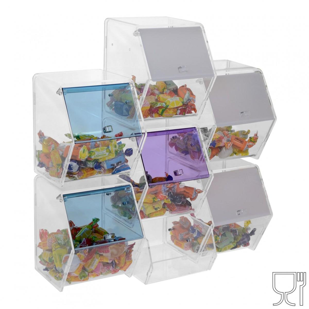 Porta caramelle  in plexiglass trasparente