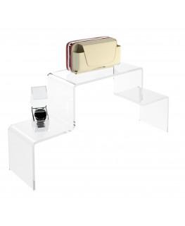 - Scaletta - Alzatina Bifacciale 2 Livelli - Plexiglass Trasparente - Dimensioni massime 50x40x40 cm. - Spessore 5 mm