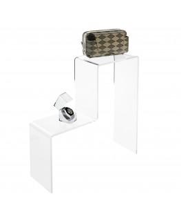 - Scaletta - Alzatina Monofacciale 2 Livelli - Plexiglass Trasparente - Dimensioni massime 50x40x40 cm. - Spessore 5 mm