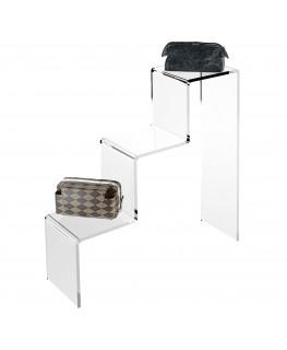 - Scaletta - Alzatina Monofacciale 3 Livelli - Plexiglass Trasparente - Dimensioni massime 45x40x45 cm. - Spessore 5 mm