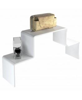 - Scaletta - Alzatina Bifacciale 2 Livelli - Plexiglass Bianco - Dimensioni massime 50x40x40 cm. - Spessore 5 mm
