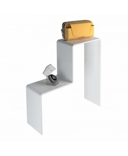 - Scaletta - Alzatina Monofacciale 2 Livelli - Plexiglass Bianco - Dimensioni massime 50x40x40 cm. - Spessore 5 mm