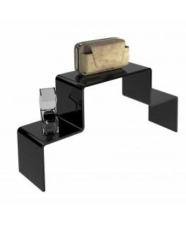 - Scaletta - Alzatina Bifacciale 2 Livelli - Plexiglass Nero - Dimensioni massime 50x40x40 cm. - Spessore 5 mm