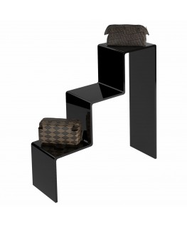 - Scaletta - Alzatina Monofacciale 3 Livelli - Plexiglass Nero - Dimensioni massime 45x40x45 cm. - Spessore 5 mm