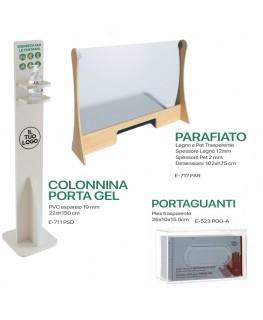 KIT E-717 PAR + E-711 PSD + E-523 POG-A - Kit Parafiato in legno e Pet trasparente - 102xh75 cm + Portadispenser + Porta guanti