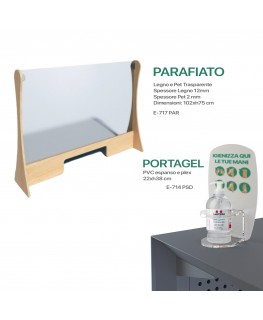 KIT E-717 PAR + E-714 PSD - Kit Parafiato in legno e Pet trasparente - 102xh75 cm e Portadispenser da banco