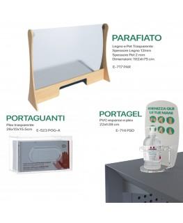 KIT E-717 PAR + E-714 PSD + E-523 POG-A - Kit Parafiato in legno e Pet trasparente - 102xh75 cm + Portadispenser + Porta guanti