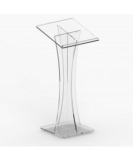 E-254 LEG - Leggio in plexiglass trasparente con piano inclinato - Misure: 50x50xH 118
