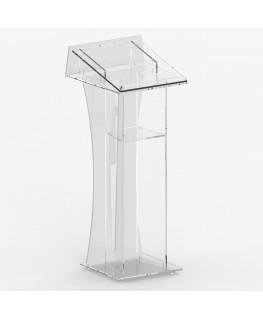 E-362 LEG - Leggio in plexiglass trasparente e bianco con piano orizzontale e inclinato