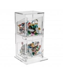 E-003 PC - Porta caramelle in plexiglass a due scomparti - Ingombro totale: 12 x 11 x H26 cm
