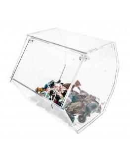 E-037 PC - Porta caramelle in plexiglass trasparente di forma esagonale - Misure: 16 x 19 x H18 cm -B