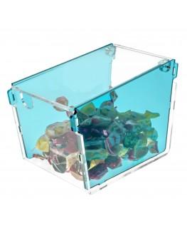 E-040 PC - Porta caramelle in plexiglass a trapezio con sportello - Misure: 10 x 18 x H13 cm