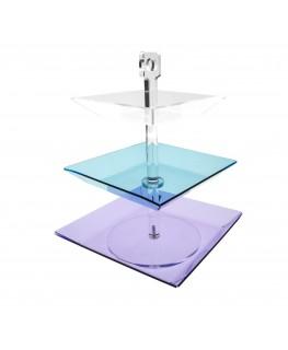 E-046 PB - Porta caramelle e bustine da tavolo in Plexiglass con tre piatti di diversa grandezza e colore - Altezza totale 34 cm