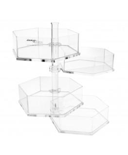 E-085 PBE - Porta bustine in Plexiglass esagonale a 4 piani