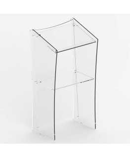 E-532 POD - Podio per conferenze in plexiglass trasparente con piano inclinato - CM(LxPxH): 60x49x122