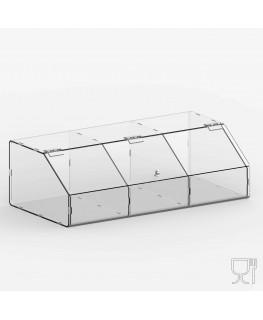 E-240 PLE - Porta legumi in plexiglass trasparente a 3 scomparti con sportello