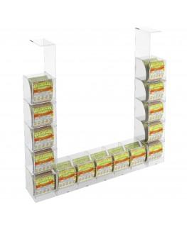 E-289 EGV-H - Espositore Gratta e Vinci da Soffitto in Plexiglass Trasparente 5 più 10 contenitori laterali SENZA SPORTELLO