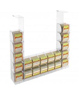 E-289 EGV-L - Espositore Gratta e Vinci da Soffitto in Plexiglass Trasparente 10 più 10 contenitori laterali SENZA SPORTELLO