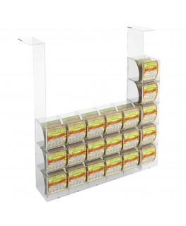 E-289 EGV-M - Espositore Gratta e Vinci da Soffitto in Plexiglass Trasparente 15 più 5 contenitori laterali SENZA SPORTELLO