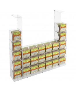 E-289 EGV-N - Espositore Gratta e Vinci da Soffitto in Plexiglass Trasparente 15 più 10 contenitori laterali SENZA SPORTELLO