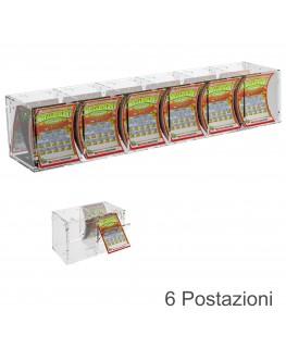 E-384 EGV-A - Espositore Gratta e Vinci da Banco o da Soffitto in Plexiglass trasparente a 6 contenitori CON SPORTELLINO