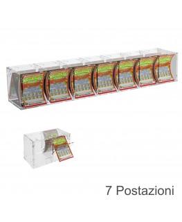 E-384 EGV-B - Espositore Gratta e Vinci da Banco o da Soffitto in Plexiglass Trasparente a 7 Contenitori CON SPORTELLINO
