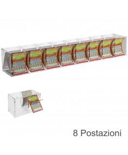 E-384 EGV-C - Espositore Gratta e Vinci da Banco o da Soffitto in Plexiglass trasparente a 8 contenitori CON SPORTELLINO