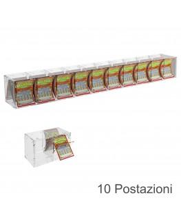 E-384 EGV-E - Espositore Gratta e Vinci da Banco o da Soffitto in Plexiglass Trasparente a 10 Contenitori CON SPORTELLINO