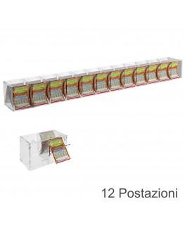 E-384 EGV-G - Espositore Gratta e Vinci da Banco o da Soffitto in Plexiglass Trasparente a 12 Contenitori CON SPORTELLINO