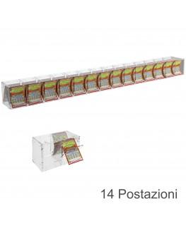 E-384 EGV-I - Espositore Gratta e Vinci da Banco o da Soffitto in Plexiglass Trasparente a 14 Contenitori CON SPORTELLINO