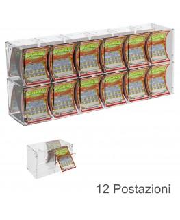 E-385 EGV-A - Espositore Gratta e Vinci da Banco o da Soffitto in Plexiglass Trasparente a 12 Contenitori CON SPORTELLINO