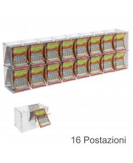 E-385 EGV-C - Espositore Gratta e Vinci da Banco o da Soffitto in Plexiglass Trasparente a 16 Contenitori CON SPORTELLINO